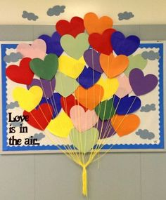 """Love is in the air..."" February bulletin board"