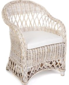 Rattan Armchair with matching Sidetable in White Wash – Allissias Attic & Vintage French Style www.allissiasatticdesign.com.au