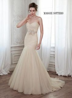 Lacey Tulle Fit and Flare bridal gowns and designer wedding dresses Fit And Flare Wedding Dress, Wedding Dresses Plus Size, Wedding Bridesmaid Dresses, Tulle Wedding, Dream Wedding Dresses, Wedding Dress Styles, Designer Wedding Dresses, Bridal Dresses, Mermaid Wedding