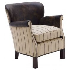 Harrow Chair Ticking Fudge - Chairs - Furniture - Andrew Martin