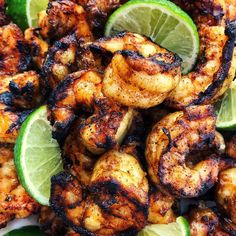 Grilled Margarita Shrimp from afarmgirlsdabbles. - Grilled Margarita Shrimp are loaded with flavor and charred to perfection Kebab Recipes, Grilling Recipes, Fish Recipes, Mexican Food Recipes, Cooking Recipes, Healthy Recipes, Mexican Dishes, Best Grill Recipes, Mexican Shrimp