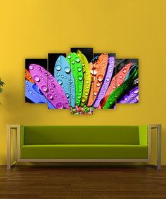 Another great find on #zulily! Rainbow Petals Five-Panel Wall Art #zulilyfinds