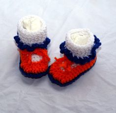 Crochet Blue Orange and White Booties by DandHspecialties on Etsy $16.00