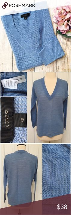 "{J.Crew} Summerweight Mesh Merino V-Neck Sweater BRAND: J.Crew ITEM: Summerweight Mesh V-Neck Sweater FEATURES: Lightweight Knit, Relaxed Fit FABRIC: 100% Merino Wool SIZE: XS CONDITION: EUC  MEASUREMENTS Length: 24"" front 25"" back Bust: 19"" Sleeve: 26"" {from neckline}  PLEASE NOTE: Measurements are approximate and taken while item is laying flat  ALL ITEMS SHIP FROM SMOKE FREE HOME. NO Trades. NO Holds. NO PayPal. NO Lowball Offers. Offer Button Only. J. Crew Sweaters V-Necks"