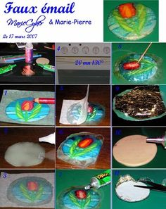 faux enamel using liquid fimo (polymer clay)  1. drawing transferred to polymer clay  2. a  drawing on parchment paper transferred to glass.  3. the drawing can be highlighted with a black felt or other waterproof material