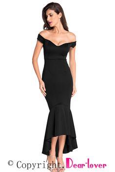Облегающее черное платье с открытыми плечами и асимметричным воланом - купить наложенным платежом