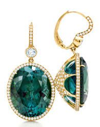 Tiffany Green Tourmaline & Diamond Earrings