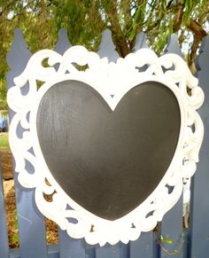 Shabby Chic White Heart Chalkboard www.capeoflove.com