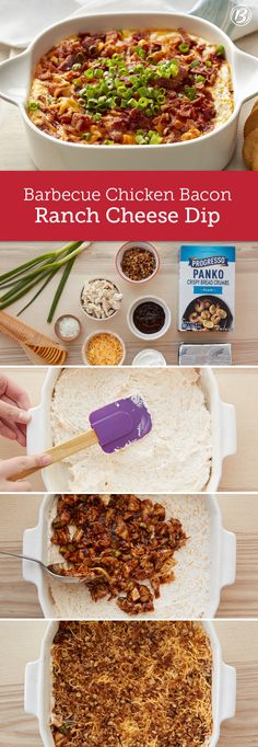 Bacon, barbecue chicken and creamy, cheesy ranch dip team up in this hot appetizer that's perfect for holidays, game time or anytime. Looking for a time-saving tip? Rotisserie chicken can be used for a make-ahead shortcut that still tastes delicious when smothered in BBQ sauce.
