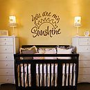 'You Are My Sunshine' Wall Sticker Quote