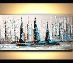 Modern 48 x 24 ORIGINAL City Sailboats Acrylic by OsnatFineArt, $450.00