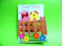 Biglietto d'auguri di Buona Pasqua con la tecnica del collage e l'utilizzo di cartoncino rigato e panni spugna.