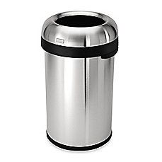 image of simplehuman® Brushed Stainless Steel Bullet Open 80-Liter Trash Can