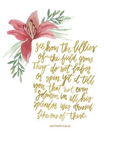 Hand Lettered Art Print Matthew 6:28-29 by AprylMade on Etsy