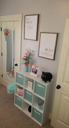 Baby girl room - Aqua and coral room Mermaid Room, Baby Bedroom, Bedroom Girls, Mirror Bedroom, Girls Bedroom Decorating, Preteen Bedroom, Sister Bedroom, Bedroom Wall, Girl Nursery