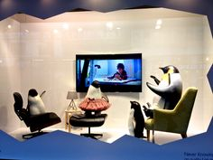 #Christmas windows 2014: John Lewis, Oxford Street. In this window they've got the actual #MontyThePenguin ad playing