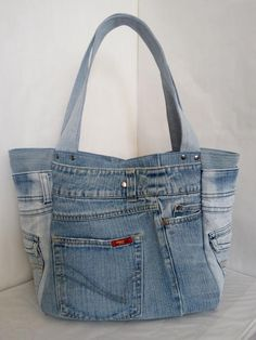 Please read this message before you make a purchase! The circumstances are so I have to leave my workplace. All orders made from June will be processed and shipped on July If you are ready to wait a little, you can make a Denim Tote Bags, Denim Purse, Jeans Denim, Denim Bag Patterns, Jeans Petite, Blue Jean Purses, Look Jean, Denim Ideas, Recycle Jeans