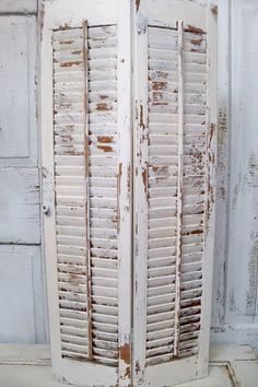 weathered wood shutters | ... weathered wood , chippy paint. / Large wood farmhouse shutter white