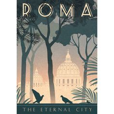 Rome Art Deco Poster Print Vintage Italy Vatican City A3 A2 A1 Retro... ($29) ❤ liked on Polyvore featuring home, home decor, wall art, tree home decor, bird home decor, pine tree, tree wall art and bird wall art