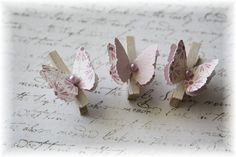 Mini Wooden Clothes Pin Butterfly Embellishment for Scrapbooking, Cardmaking, Altered Art, Lavender via Etsy