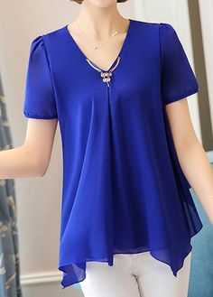 Navy Blue Asymmetric Hem V Neck Short Sleeve Chiffon Blouse, simple design more than five colors at rosewe.com, you can get it, check it now.