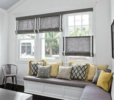 Bench window seat and window treatment for our living room windows. Window Seat Kitchen, Kitchen Window Treatments, Bedroom Window Treatments, Picture Window Treatments, Kitchen Blinds, Smith And Noble, Bedroom Windows, Blinds For Windows Living Rooms, Interior Windows