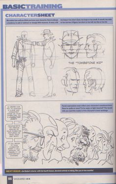Drawing Superhero Scan from Wizard Magazine Basic Training: Part 3 of 6 Joe Kubert shows how to draw characters Drawing Superheroes, Drawing Cartoon Characters, Comic Book Characters, Character Drawing, Cartoon Drawings, Character Design, Comic Book Artists, Comic Artist, Comic Books Art