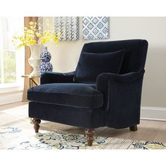Midnight Blue Accent Chair Donny Osmond Home Furnishings Arm Chairs Accent Chairs Accent F