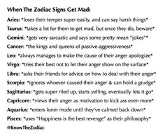 Horoscopes And Astrology Quotes : QUOTATION – Image : As the quote says – Description When zodiac signs get mad Zodiac Sign Traits, Zodiac Signs Astrology, Zodiac Star Signs, Horoscope Signs, Zodiac Horoscope, My Zodiac Sign, Zodiac Signs Tumblr, Zodiac Signs Characteristics, Le Zodiac