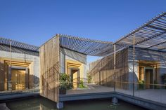 , House Design With Pond Under Floor With Bamboo Construction: modern bamboo house blueprints Bamboo Architecture, Chinese Architecture, Contemporary Architecture, Architecture Design, Contemporary Office, School Architecture, Yangzhou, Pergola Metal, World Architecture Festival