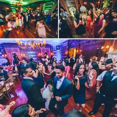 Guests dancing during a wedding reception at NYIT de Seversky Mansion in Old Westbury, NY. Captured by Long Island Wedding Photographer Ben Lau.