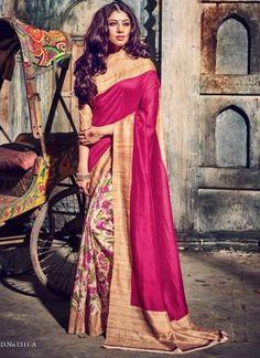Classy Pink Golden Print Bhagalpuri Silk Tready Sarees