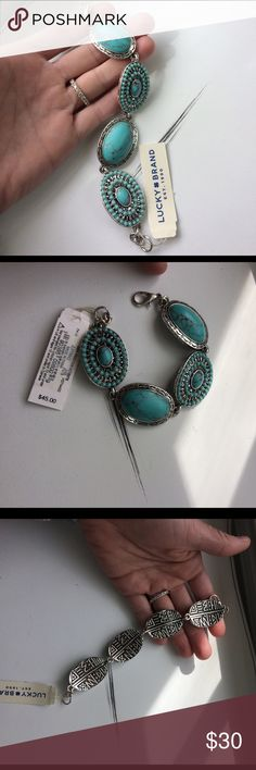 Lucky Brand Silver & Turquoise Bracelet NWT Boho style silver and turquoise bracelet by Lucky Brand. Brand new with tag. Gorgeous detailing. This is a nice, heavy piece. Lucky Brand Jewelry Bracelets