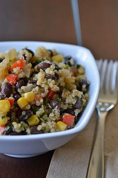 Quinoa and Black Bean Salad...just made this and it was delicious! via Pennies on a Platter