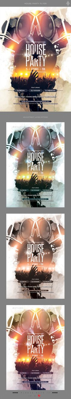 House Party Flyer Template PSD. Download here: https://graphicriver.net/item/house-party-flyer/17018196?ref=ksioks