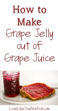 My mom grows concord grapes in her backyard. Growing up we would juice them together each year. She would then make a few dozen batches of delicious grape jelly from her homemade grape juice (post here). I'd highly recommend trying this fantastic recipe. Jelly Recipe From Juice, Jelly Recipes, Jam Recipes, Canning Recipes, Juice Recipes, Grape Recipes, Concord Grape Jelly, Grape Jam, Grape Juice
