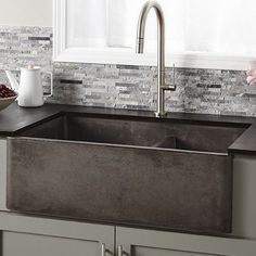 Luxury Kitchen Native Trails Farmhouse x Double Bowl Kitchen Sink - This concrete farmhouse sink not only looks good, but is hard-working, with two deep bowls and simple maintenance. And versatile to boot. Install as apron front or behind the counter. Rustic Kitchen Sinks, Apron Sink Kitchen, Outdoor Kitchen Countertops, Kitchen Decor, Kitchen Ideas, Farmhouse Sinks, Kitchen Counters, Primitive Kitchen, Stone Kitchen Sink
