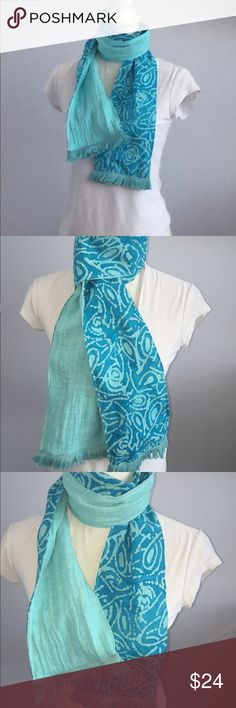 Batik Blue Spring Tassel Scarf Brand new boutique Spring Aqua and royal batik blue tassel scarf💕💕perfect accessory Accessories Scarves & Wraps