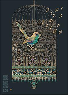Birdcage - Bug Art Jewels by Jane Crowther Arte Judaica, Bug Art, Buch Design, Indian Art Paintings, Madhubani Painting, Mandala Art, Islamic Art, Traditional Art, Doodle Art