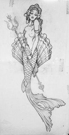 Mermaid sketch Artist is unknown.