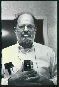 Allen Ginsberg self portrait, white shirt, camera frontal Date: 1995
