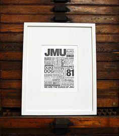 got it!  JMU Letterpress Print Black Ink on White Paper by LennahPress, $30.00