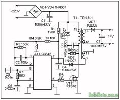 UC3843 Application Circuit Diagram | Circuits in 2019 | Power supply