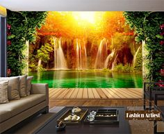 Custom 3d waterfall in forest wallpaper mural lake sunshine into tree peace scenery tv sofa bedroom living room background #Affiliate