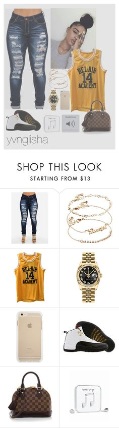 """""""basketball game"""" by yvnglisha ❤ liked on Polyvore featuring ASOS, Rolex, TAXI, Louis Vuitton and Happy Plugs"""