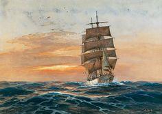Vollschiff vor untergehende Sonne