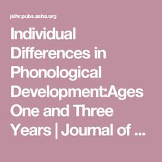 Individual Differences in Phonological Development:Ages One and Three Years | Journal of Speech, Language, and Hearing Research | ASHA Publications