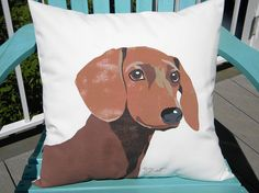 Dog pillow DACHSHUND 20 inch (50cm) outdoor hand painted canine best friend fundraiser shelter Crabby Chris Original