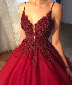 Dark Red A line Lace Beaded V Neckline Long Evening Prom Dresses, Popular Cheap Long 2018 Party Prom Dresses, 17274