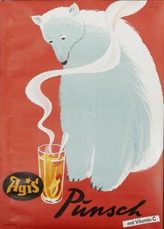 Lenz / Punsch Tea advertisng poster ... artwork of polar bear looking at a steaming glass of tea, 1949, Switzerland